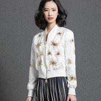 Women's Jackets Stars Embroideried Beading Bomber Jacket High Waist Baseball Coat Sequins Flowers Pilot Outwear Zipper Cardigan Long Sleeve