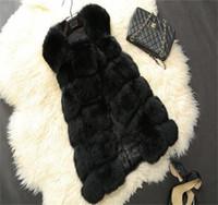 Hot Sell Luxury High Imitation Women Faux Fur Vest Long Coat Winter Woman Warm Thick Splice Jackets Female Waistcoat Outwear 2021
