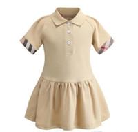2021 Новые летние девушки поло рубашки поло с коротким рукавом платье милая девушка принцесса платья детские хлопковое платье 90-130см
