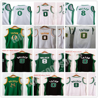 Yeni Dikişli Erkekler 2021 Şehir Beyaz Jayson 0 Tatum Kemba 8 Walker Jersey 15 Koleji NCAA Basketbol Gömlek Yeşil Siyah Altın Hızlı Kargo