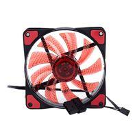 Fans Refrigeraciones 15 Luces LED PC PC Chasis Ventilador Caja de ventilador Vestido de calor Refrigerador DC 12V 4P 120 * 120 * 25mm rojo
