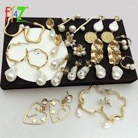 استرخى الثريا f.j4z غير النظامية مقلد بيرل أقراط للنساء أزياء متعددة التصاميم الباروك خمر مجوهرات اكسسوارات 1