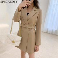 الربيع أنيقة السترة اللباس المرأة طويلة الأكمام ضئيلة مكتب اللباس الكورية نمط مصمم فساتين رداء فام حزام
