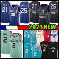 Lamelo 2 Ball Gordon 20 Hayward Erkek Gençlik Çocuk Joel 21 Embiid Ben 25 Simmons Siyah Basketbol Jersey Allen 3 Iverson Julius 6 ERVING