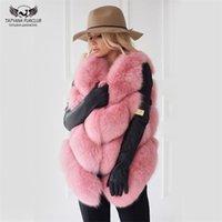 Tatyana Furclub Doğal Yelek Ceket Kadınlar Gerçek Tilki Ceket Moda Sıcak Kız Kürk Y201001