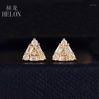 Stud Helon 0.5ct Natural Diamantes Brincos Sólidos 14k Amarelo / Branco Rosa Gold Mulheres Na moda Jóias Fine1