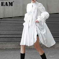 [EAM] 2019 Yeni Sonbahar Kış Standı Yaka Uzun Kollu Beyaz Pileli Dikiş Düzensiz Büyük Boy Gömlek Kadın Bluz Moda JO4781