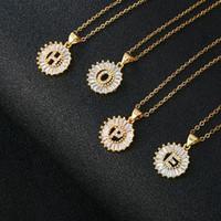 CORTURIDAD CUBRICA CUERCONIA COLECTURA Colgante Collar Color Oro 26 A-Z Encanto inicial de cobre de acero inoxidable Collar de Cadena Regalo