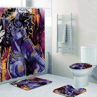 4 pcs preto amor casal cortina de chuveiro conjunto afro-americano arte pintura banheiro cortina afro menina banho mataria acessórios 201128