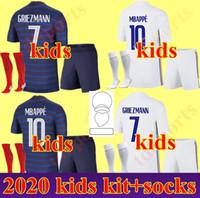 키트 키트 MBappe 축구 유니폼 아동 2020 2021 그리즈 만 포기 축구 셔츠 20 21 Pavard Kante Boys 전체 세트 유니폼