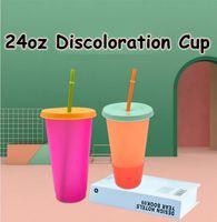 Tumblers de consumición de plástico de la copa de cambio de color 24 oud con tapa y caramelo reutilizables de paja Copa de agua fría Botella de agua de verano CCA12201 50pcs
