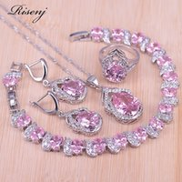 Risenj prata cor jóias grande pêra rosa cúbico zircão anel brincos colar pulseira conjunto para mulheres nupcial jóias 201222
