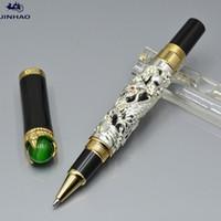 Высокое качество Jinhao Pen Silver и Golden Dragon Form Рельефы роликовые шариковые ручки офисные школьные принадлежности, написание плавных вариантов подарков