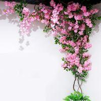 Cerezo artificial Vine Falso Cherry Blossom Flor Branch Sakura Árbol Tallo para el Evento Boda Tres Deco Artificial Decorativo Flores