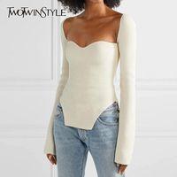 Twotwinstyle lado branco split feito malha feminina camisola quadrado colarinho manga longa camisolas femininas outono moda nova roupa 201119