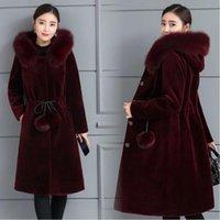 Kadın Kürk Faux Uzun Ceket Kış Kadın Yapay Ceket Artı Boyutu Kalın Sıcak Palto Hood
