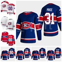 Reverse Retro 몬트리올 Canadiens Hockey 14 Nick Suzuki Jersey Blue Red 31 Carey Price 90 Tomas Tatar 6 Shea Weber 11 Brendan Gallagher
