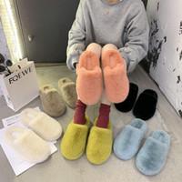 Winter Neues Haus Frauen Halbe Pelz Hausschuhe Mode Multicolor Faux Pelz Warme Flache Schuhe Slip auf Home Schlafzimmer Damen Fuzzy Slipper J1205