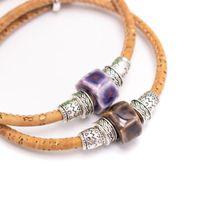 Braccialetto fatto a mano in sughero rotondo 3mm 3mm, braccialetto in ceramica Braccialetto per perline AEB-007