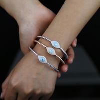 Nouveau turc Evil Eye Charm Bracelets Bangle pour les femmes Fatima chanceux Cubic chaîne de tennis de Zircon Bangle mariage bijoux en gros