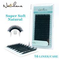 Natuhana Atacado 16rows BCD Curl Natural Mink Único Extensão de Eyelash Premium Individual Falso Falso Eye Eye Lashes Extensão