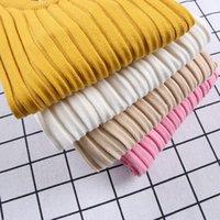 0-6 лет детские девушки свитера наморс сплошной цвет малыша мальчики свитера весной осень теплые вязаные дети ребристый пуловер KF966 LJ201128