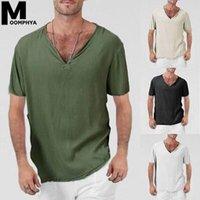 Moomphya Uomo Vestiti 2020 Biancheria Casual con scollo a V Manica corta T-shirt uomo comodo stile sciolto T Shirt Summer Plain Tshirt