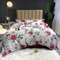 Conjuntos de cama 37 600TC egípcio Algodão Rainha King Size Cama de edredão Cobertura de edredão / lençóis de linho ajustado estilo pastoral