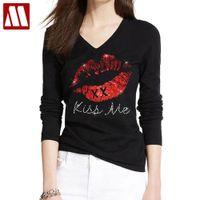 Kiss Me Lips 다이아몬드 T 셔츠 전체 슬리브 T 셔츠 숙녀 의류 면화 티셔츠 새로운 패션 입 블링 편지 여성 솔리드 mydbsh x1217