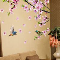 Дерево ветви Цветы стены наклейки DIY птицы наклейки животных на стене для гостиной спальня кухня украшения дома 201106