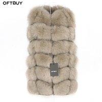 OFTBUY Bahar Gerçek Fox Kürk Yelek Kadın Kolsuz Kış Ceket Jile Doğal Kürk Bodywarmer Yelek Kalın Sıcak Streetwear Y201012