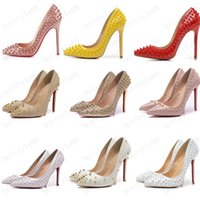 Neue Schuhe Rot Sloe Frauen Pumps High Heel Schuhe Niet Spitze Zehe Feiner Ferse Dame Hochzeit Schuhe Boden Für die rote 8 cm 10 cm 12 cm 35-44