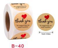 500pcs rotolo 1 pollice Grazie a mano Adesivi adesivi rotondi Etichetta per le vacanze Presents Business