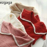 Ezgaga Sweet Girl Perle Perle TURN-Col Pull Jumper Femme Automne Mode en vrac style preppy chic dames Hauts Pull