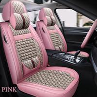 Flax 패션 자동차 커버 수단 SUV 내구성 가죽 유니버셜 5 좌석 전체 세트 보호 쿠션 매트 핑크 시리즈