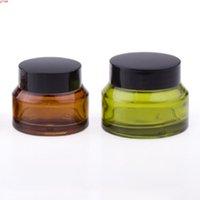12 x портативный портативный белкостный синий янтарный зеленый кремовый стеклянный банок с черными крышками Белая уплотнительная контейнер косметическая упаковка Потешенная продукция