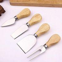 4 pçs / lote de madeira punho conjuntos BARD SET OAK Bamboo Cheese Cutter Faca Slicer Kit Cozinha Cheandse Cortador de Culinária Útil Ferramentas AHD3281