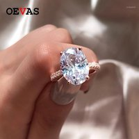 OEVAS REAL 925 Стерлинговое серебро 9CT 9CT Овальный вырез создан моисанит алмазное свадебное обручальное кольцо оптом женщины кольца1