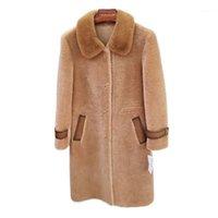 Высококачественная меховая пальто 2020 Новая овчина Ветровка зимнее Теплое пальто Среднего куртки Женская Мех Верхняя одежда A9921
