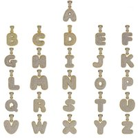 TopGilz Hip Hop Männer Schmuck A-Z MicroPave Zirkon Name Blase Buchstaben ausgefroren Anhänger Halskette mit Tenniskette DIY1