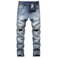 Мужские джинсы кимсера мужские разрушенные штаны с отверстиями мода Hi улица разорванные джинсовые брюки уличная одежда рваная мыть1