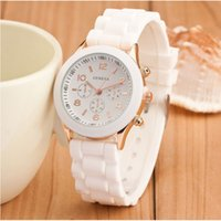 Luxury Mint Green Geneva watches Candy style Alloy Shell Shadow watch Rose Gold color rubber silicone unisex Girl Boy quartz Clock