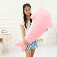 60cm-120cm jätte stora snygga fyllda djur plyschleksaker Lovely Big Dolphin Doll Blue Pink Gratis frakt