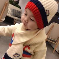 2 шт. / Набор Зимние детские шапки шарф зимняя теплая сплошная шерсть вязаная милая шапка + шарф дети теплые кепки 2-7 лет