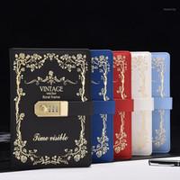 جديد القرطاسية دفتر ورقة 130 ورقة مذكرات مع قفل رمز كلمة المرور خمر المفكرة مكتب اللوازم المدرسية هدية 1