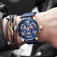 European e americano moda high-end mini foco marca relógio mecânico vento oco homens assistir na moda Best-seller cinto de lazer mens de relógio