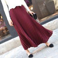Sherhure 2019 осень старинные длинные SAIAs высокие талии женщины Maxi Saia Longa Falda плиссированные юбка Jupe Y200704