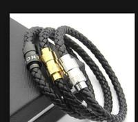 Nuovi braccialetti in pelle di arrivo tessuti antichi uomini bracciali di fascino nero Pulseira masculina magnete uomo Bangles gioielli moda wl1050