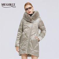 Miegofce Kış Yeni Kadın Pamuk Ceket Şık Kürk Yaka Rex Tavşan Uzun Ceket Kış Kadın Parkas Rüzgar Geçirmez Ceket 201102