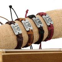 Bracelet en cuir antique populaire J'aime Jésus Alliage Bijoux à la main DMFB253 Mélanger Ordre 20 pièces beaucoup